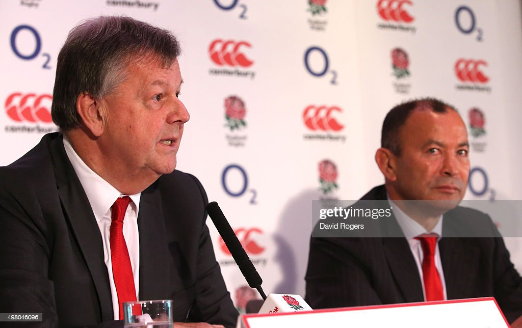 Eddie Jones,(R) the new England Rugby head coach, faces the media with Ian Ritchie, the RFU chief executive at Twickenham Stadium in London, England.