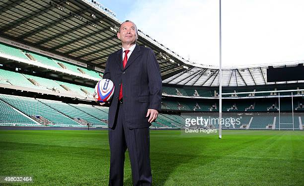Eddie Jones the new England Rugby head coach poses at Twickenham Stadium on November 20 2015 in London England