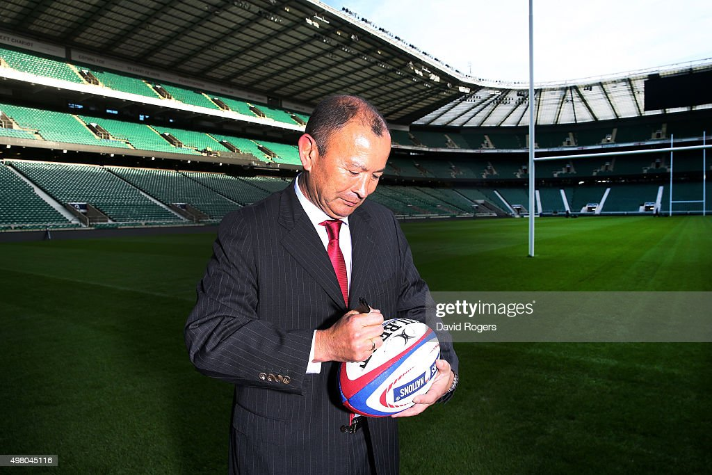 Eddie Jones, the new England Rugby head coach, poses at Twickenham Stadium on November 20, 2015 in London, England.