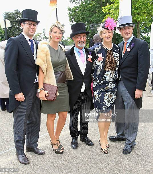 Eddie Jordan and wife Marie Jordan pose with his children during day five of Royal Ascot at Ascot Racecourse on June 18 2011 in Ascot United Kingdom