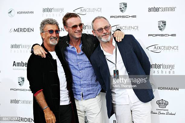 Eddie Jordan Eddie Irvine and actor Liam Cunningham arrive at the Amber Lounge fashion show during previews to the Monaco Formula One Grand Prix at...