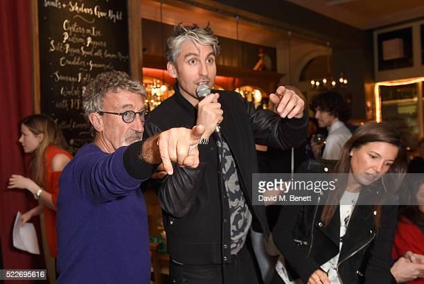 Eddie Jordan George Lamb and Amanda Sheppard attend the Zoe Jordan KNITLAXY Quiz Night at The Larrik Pub on April 20 2016 in London England