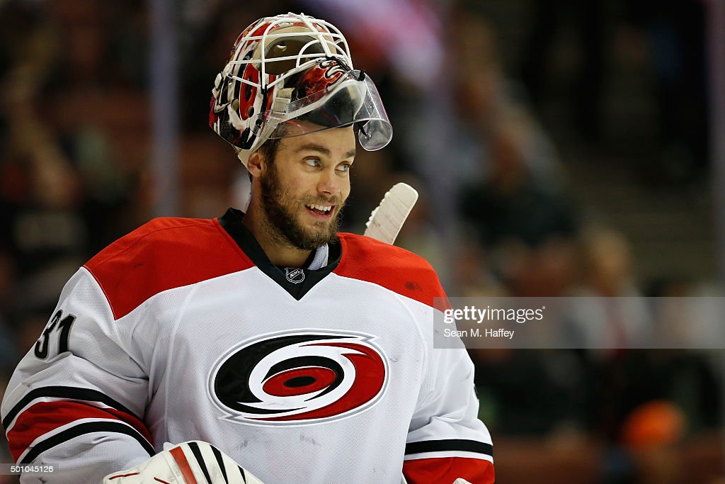 Eddie Lack #31 of the Carolina Hurricanes smiles during the third period of a game against the Anaheim Ducks at Honda Center on December 11, 2015 in Anaheim, California. the Carolina Hurricanes defeated the Anaheim Ducks 4-1.
