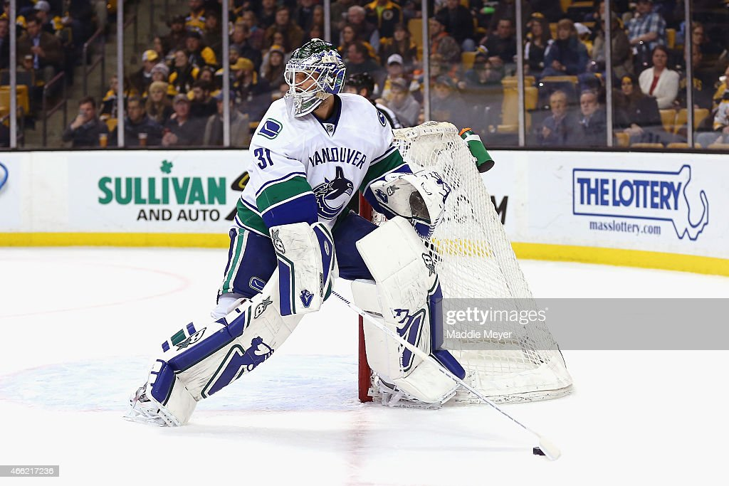 Eddie Lack #31 of the Vancouver Canucks tends net during the game against the Boston Bruins at TD Garden on February 24, 2015 in Boston, Massachusetts.