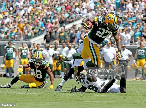 Eddie Lact of the Green Bay Packers runs for yardage against the Jacksonville Jaguars at EverBank Field on September 11 2016 in Jacksonville Florida