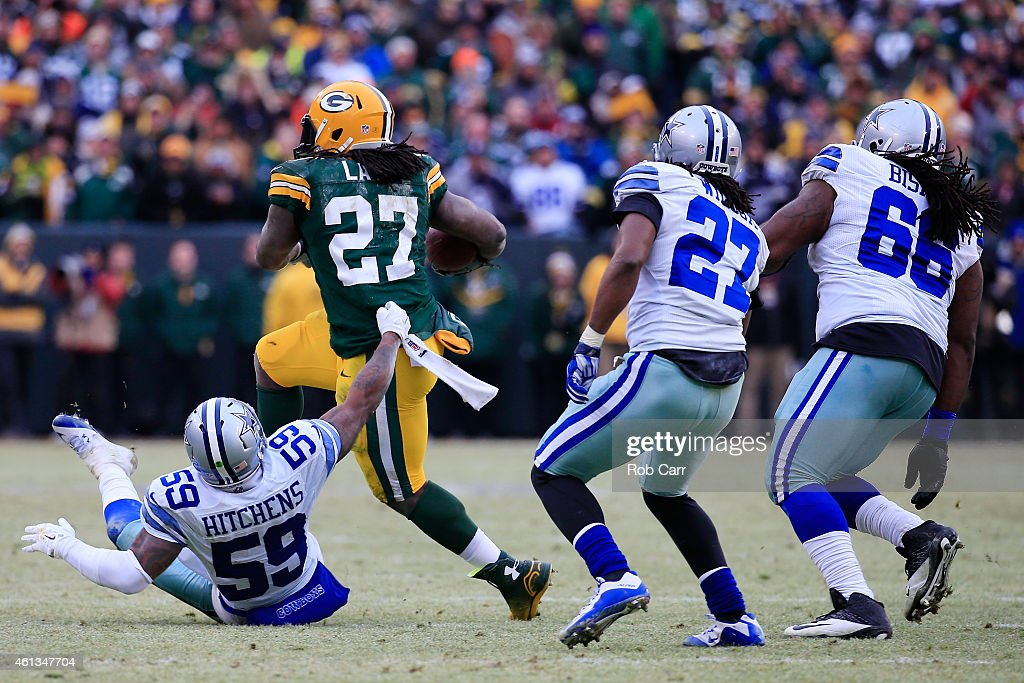 Eddie Lacy #27 of the Green Bay Packers carries the football against the Dallas Cowboys during the 2015 NFC Divisional Playoff game at Lambeau Field on January 11, 2015 in Green Bay, Wisconsin. The Green Bay Packers defeat the Dallas Cowboys 26-21.