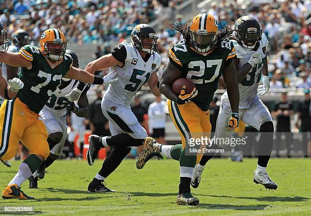 Eddie Lacy of the Green Bay Packers rushes during a game against the Jacksonville Jaguars at EverBank Field on September 11 2016 in Jacksonville...