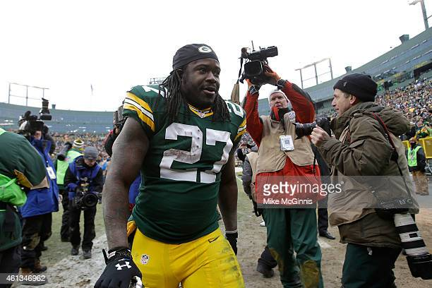 Eddie Lacy of the Green Bay Packers walks off the field after the Packers defeat the Dallas Cowboys 2621 during the 2015 NFC Divisional Playoff game...
