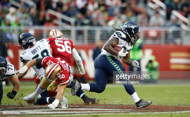 Eddie Lacy of the Seattle Seahawks rushes during the game against the San Francisco 49ers at Levi's Stadium on November 26 2017 in Santa Clara...