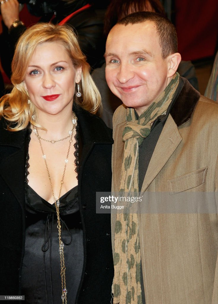 Eddie Marsan (R) and guest attends the 'Happy Go Lucky' premiere during day six of the 58th Berlinale International Film Festival held at the Berlinale Palast on February 12, 2008 in Berlin, Germany.