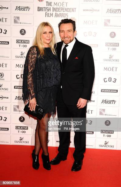 Eddie Marsan and Janine Schneider arrive at the Moet British Independent Film Awards at Old Billingsgate Market in London