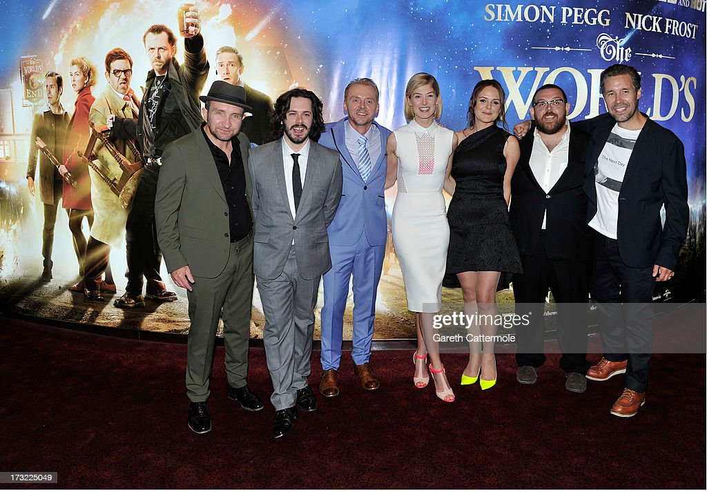 Eddie Marsan, Director Edgar Wright, Simon Pegg, Rosamund Pike, Producer Nira Park, Nick Frost and Paddy Considine attend the World Premiere of The World's End at Empire Leicester Square on July 10, 2013 in London, England.