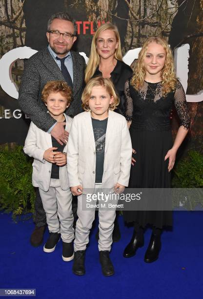 "Eddie Marsan , Janine Schneider-Marsan and kids attend a special screening of Netflix's ""Mowgli: Legend Of The Jungle"" at The Curzon Mayfair on..."