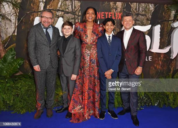 Eddie Marsan Louis Ashbourne Serkis Naomie Harris Rohand Chand and Andy Serkis attend a special screening of Netflix's Mowgli Legend Of The Jungle at...