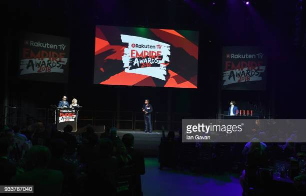 Eddie Marsan presents the Best TV Series award on stage during the Rakuten TV EMPIRE Awards 2018 at The Roundhouse on March 18 2018 in London England