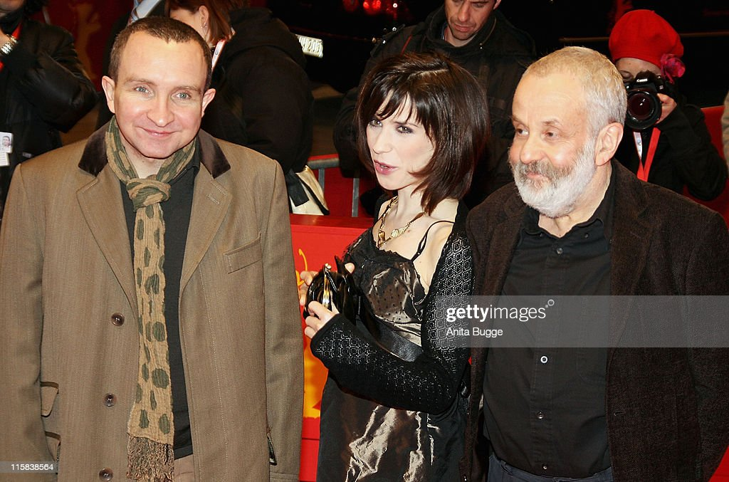 Eddie Marsan, Sally Hawkins and Mike Leigh, director attends the 'Happy Go Lucky' premiere during day six of the 58th Berlinale International Film Festival held at the Berlinale Palast on February 12, 2008 in Berlin, Germany.