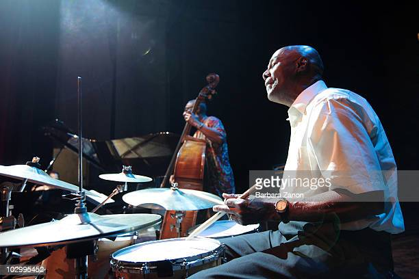 Eddie Marshall of Bobby Hutcherson and Cedar Walton quartet performs on stage during Umbria Jazz Festival on July 13, 2010 in Perugia, Italy.