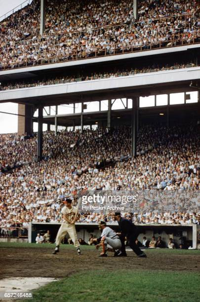 Eddie Mathews of the Milwaukee Braves bats during an MLB game against the St Louis Cardinals on August 18 1957 at County Stadium in Milwaukee...