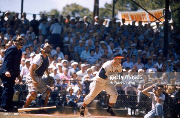 Eddie Mathews of the Milwaukee Braves follows his base hit during a Spring Training game circa March 1956 in Florida