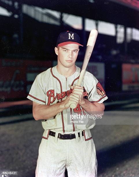 Eddie Mathews of the Milwaukee Braves poses for a portrait before a game Eddie Mathews played for the Milwaukee Braves from 195365