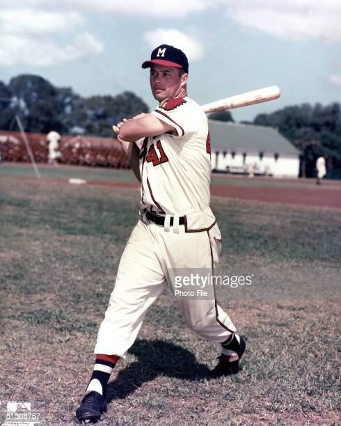Eddie Mathews of the Milwaukee Braves poses for an action portrait Eddie Mathews played for the Milwaukee Braves from 19531965