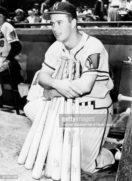 Eddie Mathews of the Milwaukee Braves poses with bats during a season game Eddie Mathews played for the Milwaukee Braves from 19531965