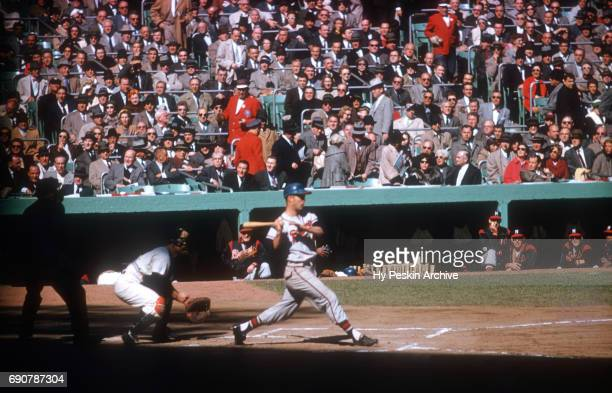 Eddie Mathews of the Milwaukee Braves swings at the pitch during Game 4 of the 1958 World Series against the New York Yankees on October 5 1958 at...