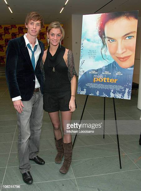 Eddie Mayne and Tara Hacking during Miss Potter Special Private Screening at MoMA Theatre in New York City New York United States