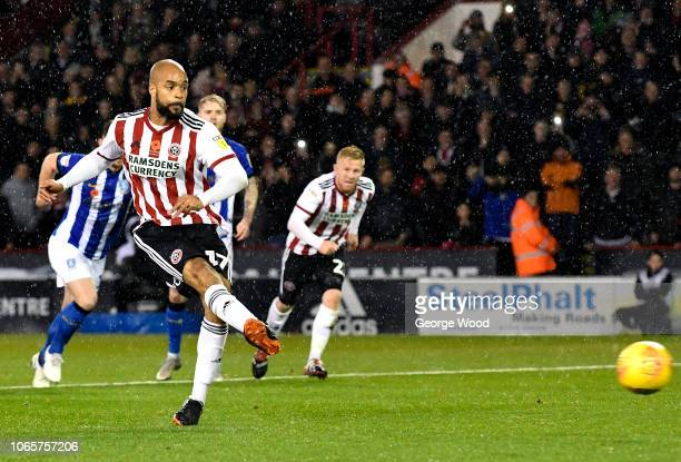 Eddie McGoldrick of Sheffield United takes a penalty which is saved by Cameron Dawson during the Sky Bet Championship match between Sheffield United...