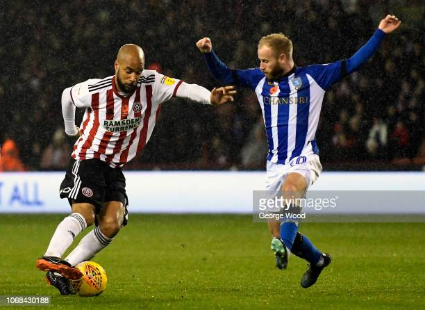 Eddie McGoldrick of Sheffield United takes on Barry Bannan of Sheffield Wednesday during the Sky Bet Championship match between Sheffield United and...