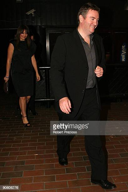 Eddie McGuire and Carla McGuire are seen leaving after celebrating Shane Warne's 40th Birthday at Cristal cocktail and Champagne bar on September 11...