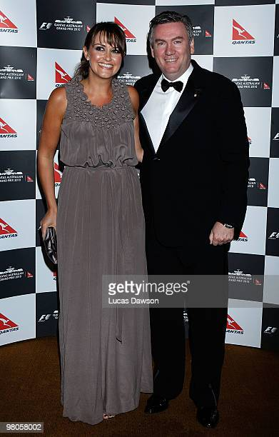 Eddie McGuire and Carla McGuire arrive at the F1 Grand Prix Ball at the Crown Palladium on March 26 2010 in Melbourne Australia