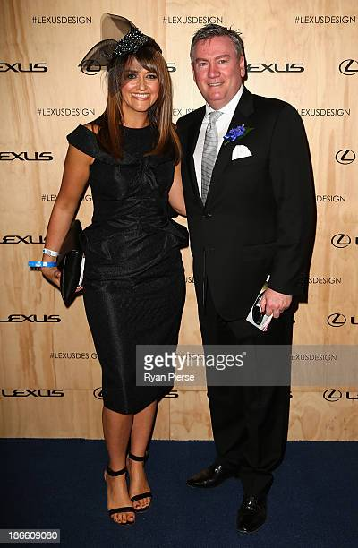 Eddie McGuire and Carla McGuire arrive on Victoria Derby Day at Flemington Racecourse on November 2 2013 in Melbourne Australia