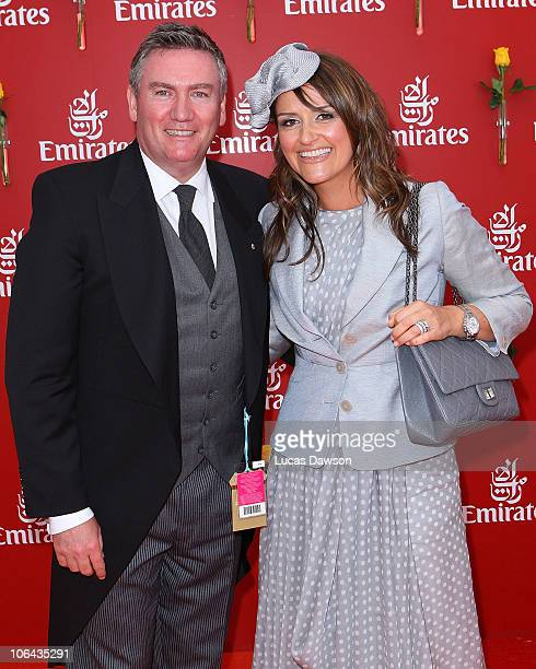 Eddie McGuire and Carla McGuire attend the Emirates marquee during Emirates Melbourne Cup Day at Flemington Racecourse on November 2 2010 in during...