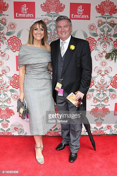Eddie McGuire and Carla McGuire pose at the Emirates Marquee on Melbourne Cup Day at Flemington Racecourse on November 1 2016 in Melbourne Australia