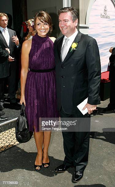 Eddie McGuire and Carla McGuire pose outside the Emirates marquee on the second day of the Melbourne Cup Carnival 2007 Melbourne Cup Day at...