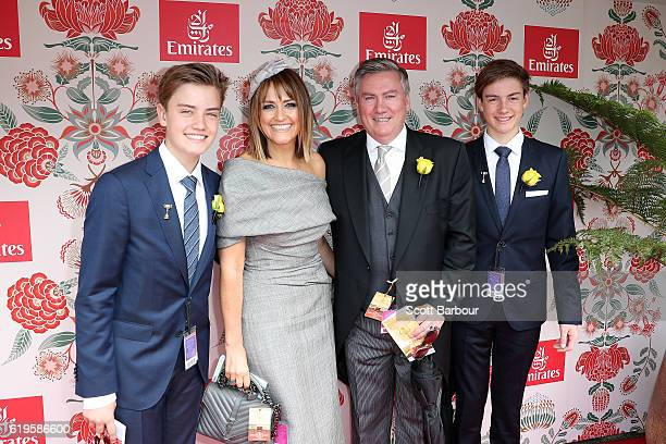 Eddie McGuire and Carla McGuire with their children Joseph and Alexander McGuire pose at the Emirates Marquee on Melbourne Cup Day at Flemington...