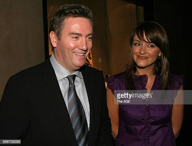 EDDIE MCGUIRE Eddie McGuire and his wife Carla at The Georgio Armani store opening in Collins Street Melbourne 7 April 2005 THE AGE Picture by...