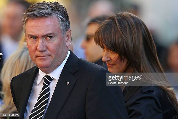 Eddie McGuire and his wife Carla McGuire arrive to attend the State Funeral held for former AFL player Jim Stynes at St Paul's Cathedral on March 27...
