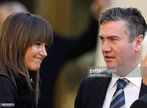 Eddie McGuire and his wife Carla McGuire leave the funeral of billionaire businessman Richard Pratt at the Kew Synagogue on April 30 2009 in...