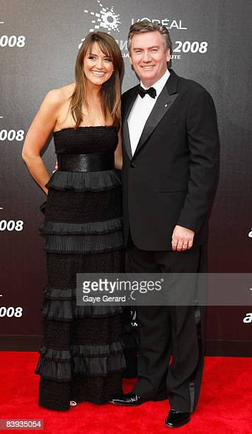 Eddie McGuire and wife Carla McGuire arrive at the L'Oreal Paris 2008 AFI Awards at the Princess Theatre on December 6 2008 in Melbourne Australia...