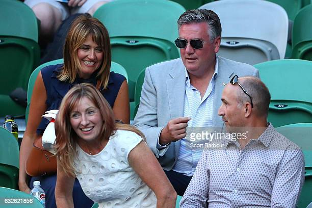 Eddie McGuire and wife Carla McGuire watch the semifinal match between Rafael Nadal of Spain and Grigor Dimitrov of Bulgaria on day 12 of the 2017...