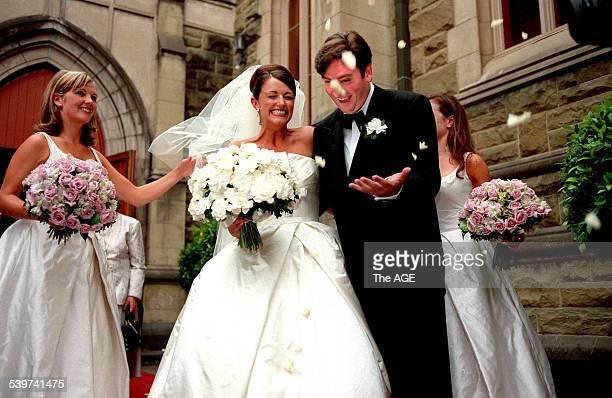 EDDIE MCGUIRE Eddie McGuire marries Carla Galloway at St Peters Church Toorak Road Toorak 8 February 1997 THE AGE Picture by SYLVIA TUZ