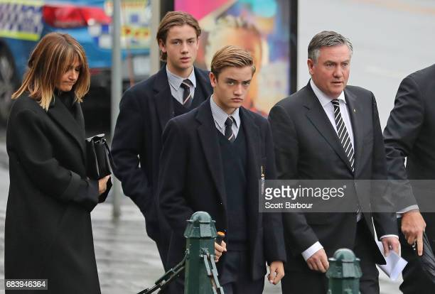 Eddie McGuire President of the Collingwood Football Club his wife Carla McGuire and sons Alexander McGuire and Joseph McGuire arrive during the Lou...
