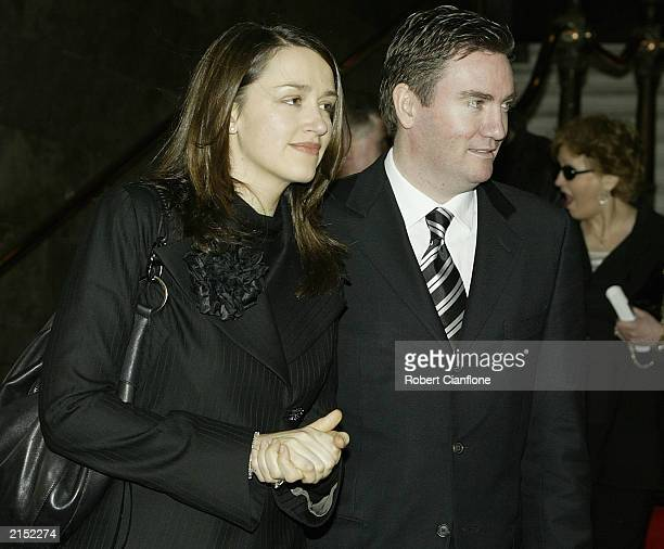 Eddie McGuire president of the Collingwood Football Club with his wife Carla attend the Bob Rose Memorial Service held at the Melbourne Town Hall...