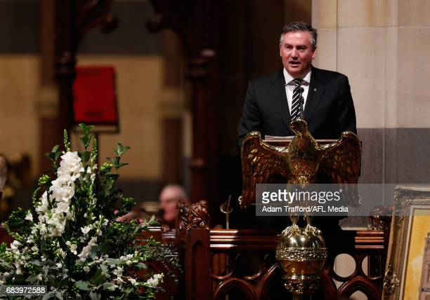 Eddie McGuire President of the Collingwood Magpie addresses the crowd during the former Collingwood legend Lou Richards state funeral at St Paul's...