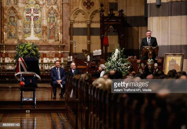 Eddie McGuire President of the Collingwood Magpies addresses the crowd during the former Collingwood legend Lou Richards state funeral at St Paul's...