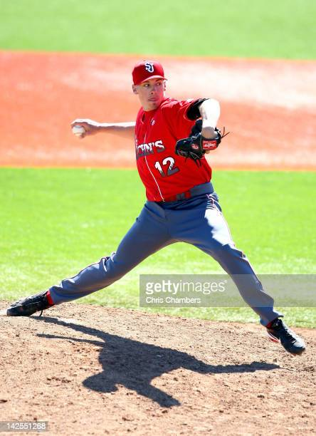 Eddie Medina of the St. John's Red Storm throws a pitch against the Rutgers Scarlet Knights during their Big East Conference Game at Bainton Field on...