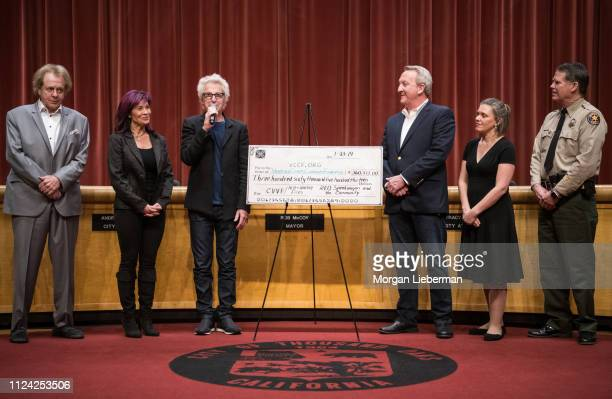 Eddie Money Lisa and Kevin Cronin of REO Speedwagon Thousand Oaks Mayor Rob McCoy Vanessa Bechtel and Thousand Oaks Chief of Police Tim Hagel during...