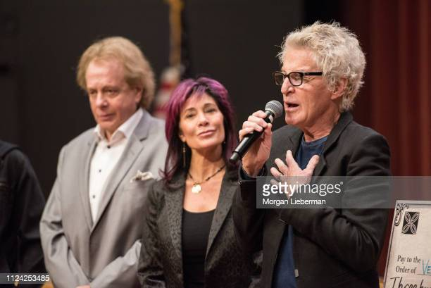 Eddie Money Lisa Cronin and Kevin Cronin of REO Speedwagon during the check presentation from the benefit concerts' proceeds to the Ventura County...